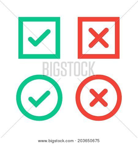 Green tick and red cross checkmarks in circle and square flat icons. Vector illustration isolated on a white background. Acceptance of voting results. Premium quality.