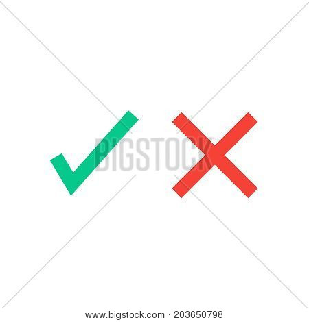 Green tick and red cross flat icons. Vector illustration isolated on a white background. Acceptance of voting results. Premium quality.