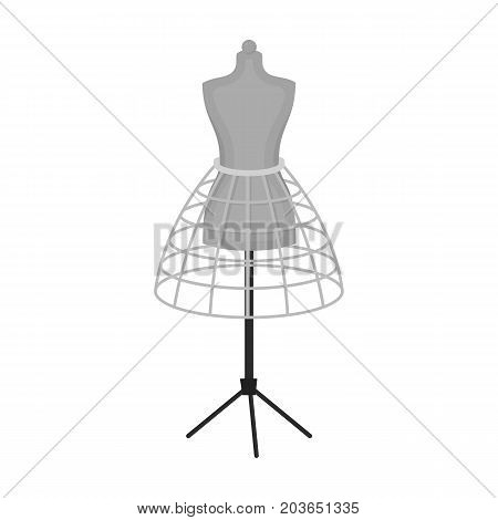 Equipment, mannequin for sewing women's clothing. Sewing and equipment single icon in monochrome style vector symbol stock illustration .