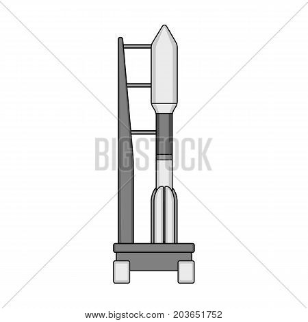 Space launch vehicle at launch. Space technology single icon in monochrome style vector symbol stock illustration .