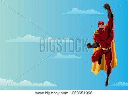 Cartoon illustration of flying superhero over sky background and copy space.