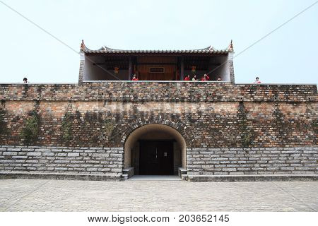 SHENZHEN, CHINA - MARCH 28, 2016: Dapeng Fortress on March 28, 2016 in Shenzhen, China. Dapeng Fortress is a historic landmark walled village in Guangdong.