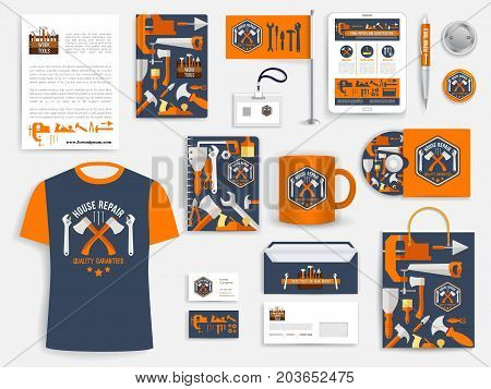 Construction company, home repair service corporate identity template set with work tool trademarks. Branded business card, letterhead, envelope, folder layout, promotional stationery, flag, t-shirt