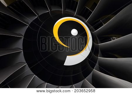 The fan of a modern turbofan aircraft engine close-up.