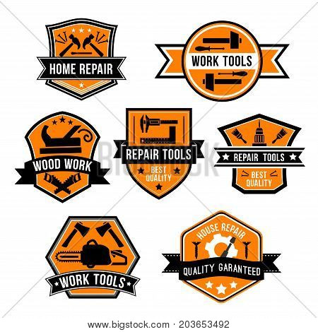 Work tool symbols and icons. Hammer, screwdriver, paint brush, drill, saw, axe, jack plane, screw and nails on orange shield with ribbon banner and star. Hardware tool for home repair design