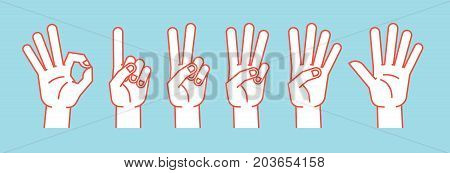 Count on fingers. Gesture. Stylized hands showing different numbers. Icons. Vector illustration on a blue background. Zero, one, two, three, four, five. Orange lines and white silhouette. Logo Signs