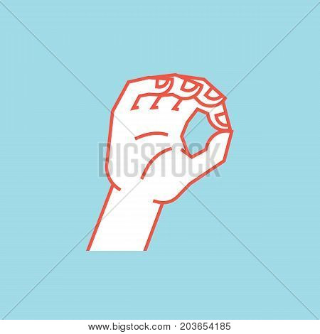 Gesture. Zero. A little bit sign. Stylized hand with index and thumb making circle. Icon. Vector illustration on a blue background. Making a less signal by hand. Orange lines and white silhouette.