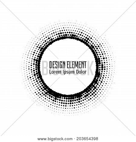 Vector abstract halftone circle dotted logo design element. Grunge halftone frame with dots. Pop art dotted circle template isolated on white