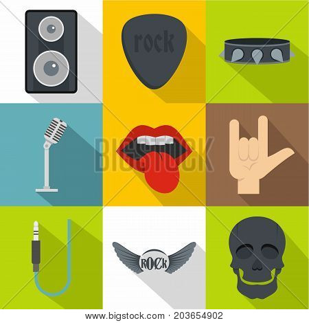 Rock equipment icon set. Flat style set of 9 rock equipment vector icons for web design