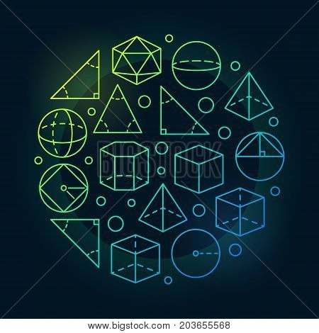 Trigonometry and geometry colorful illustration - vector round linear education concept symbol on dark background