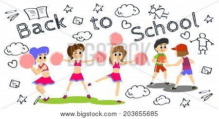 cheerleader dancing in uniform with pom poms, teenager girl school team concept, elementary and high school sport activity vector illustration.