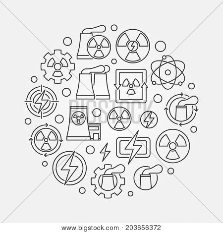 Nuclear energy round concept illustration. Vector nuclear power circular symbol in thin line style