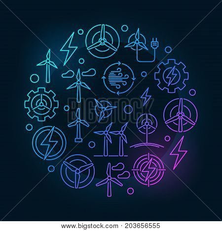 Wind energy circular colorful illustration - vector round renewable energy bright symbol made with wind turbine icons in thin line style on dark background