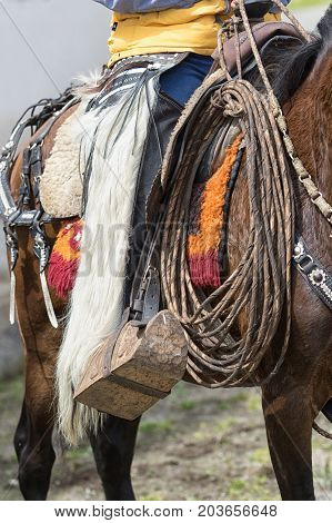 June 10 2017 Toacazo Ecuador: traditional chaps made of llama or sheep fur worn by the local cowboys at rodeos