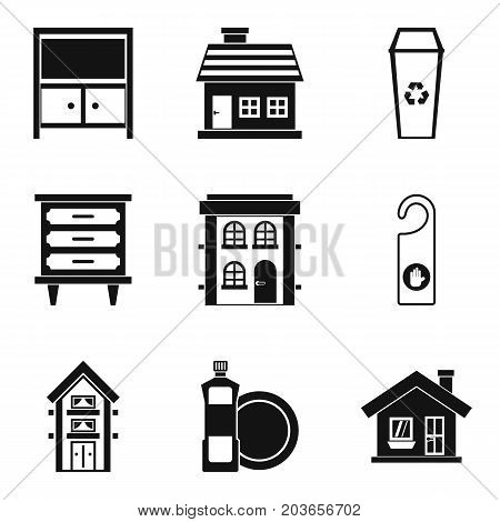 Hotel cleaning service icon set. Simple set of 9 hotel cleaning service vector icons for web design isolated on white background