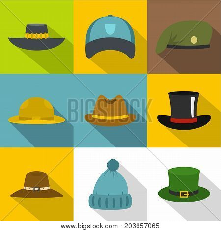 Hat style icon set. Flat style set of 9 hat style vector icons for web design