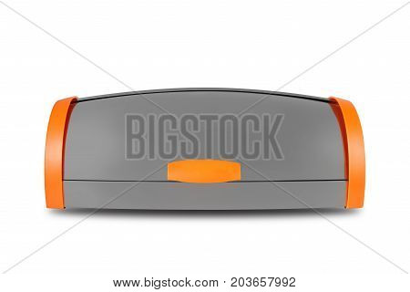 Kitchen capacities - Aluminium breadbox with orange sides on a white background. Isolated