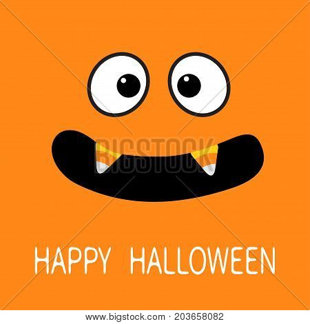 Happy Halloween. Scary face emotions. Big eyes mouth with candy corn Vampire tooth fang. Baby Greeting card. Flat design style . Orange background. Vector illustration