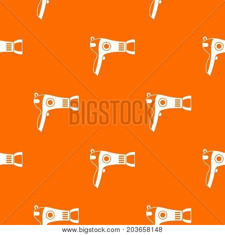 Hairdryer pattern repeat seamless in orange color for any design. Vector geometric illustration