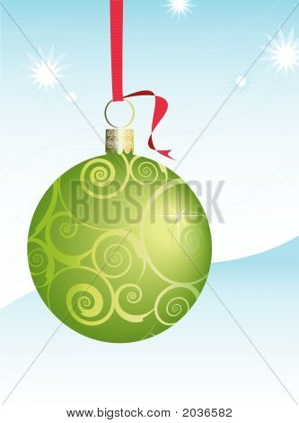 Green Swirly Christmas Ornament