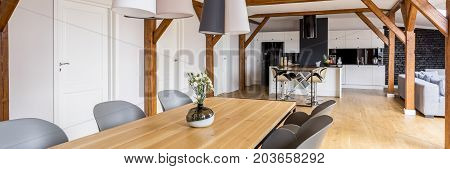 Open Home With Wooden Table