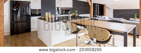 Open Luxurious Loft House Interior
