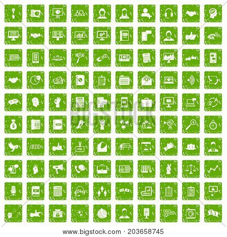 100 dialog icons set in grunge style green color isolated on white background vector illustration