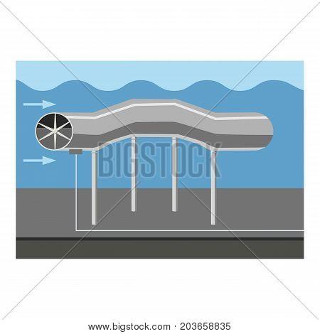 Oil pipeline icon. Cartoon illustration of oil pipeline vector icon for web