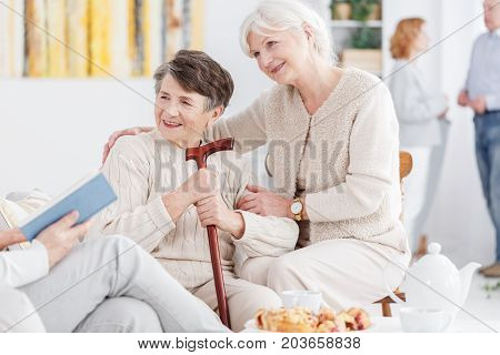 Happy Grandmothers At Day-care Center