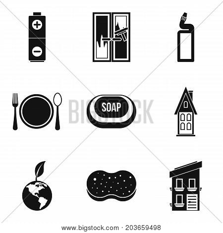 Home cleaning icon set. Simple set of 9 home cleaning vector icons for web design isolated on white background