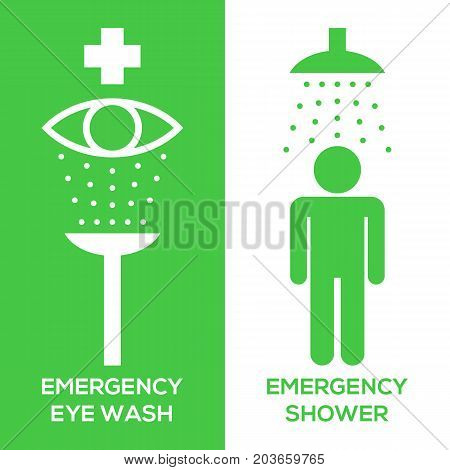 emergency eye wash and emergency shower pictogram icon, silhouette design