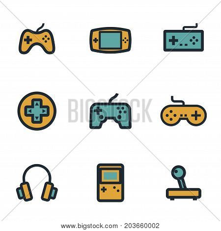 Vector flat video game icons set on white background