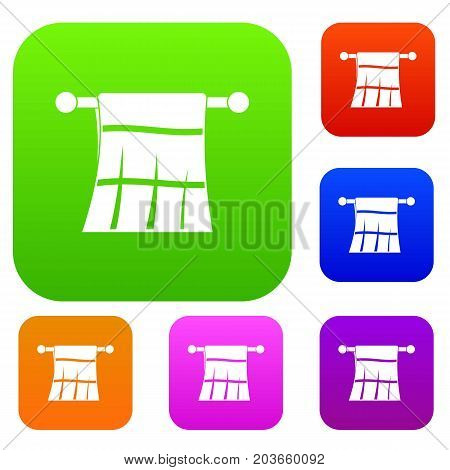 Towel on a hanger set icon color in flat style isolated on white. Collection sings vector illustration