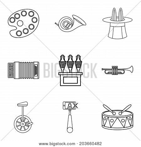Street circus icons set. Outline set of 9 street circus vector icons for web isolated on white background