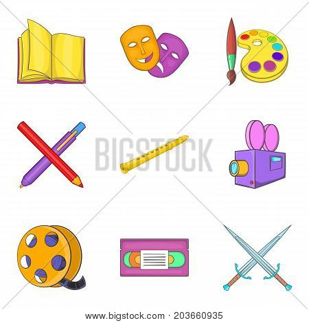 Filmmaker icons set. Cartoon set of 9 filmmaker vector icons for web isolated on white background