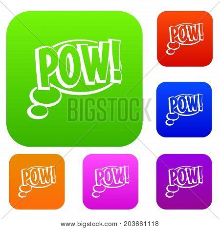 Pow, speech bubble set icon color in flat style isolated on white. Collection sings vector illustration