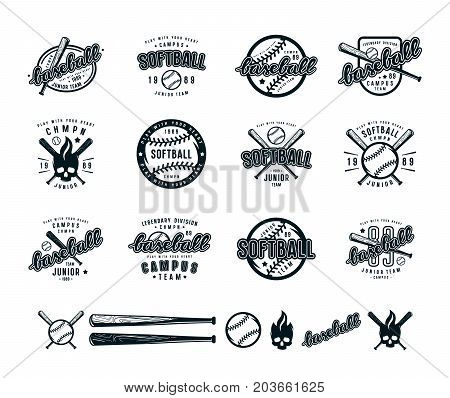 Set Of Baseball And Softball Badges