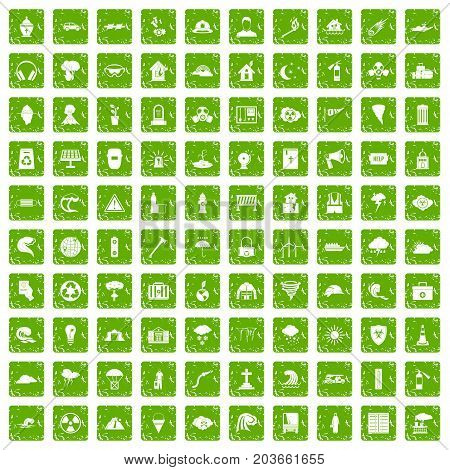 100 disaster icons set in grunge style green color isolated on white background vector illustration