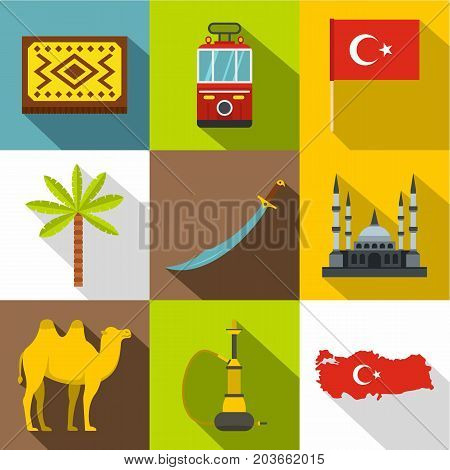 State of Turkey icon set. Flat style set of 9 state of Turkey vector icons for web design