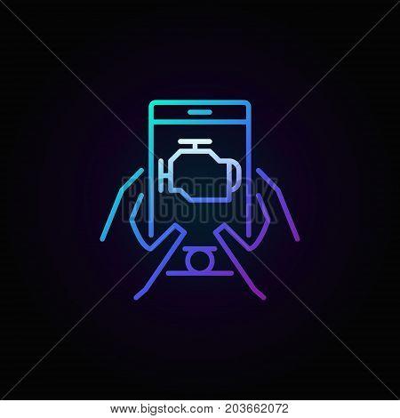 Colorful car engine diagnostics via smart phone vector linear icon or logo element on dark background