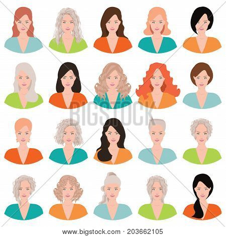 Beautiful young woman portrait with different hair style isolated on white background moman avatar set vector illustration.