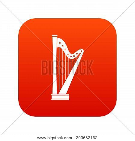 Harp icon digital red for any design isolated on white vector illustration