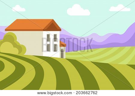 Neat small house among wide green fields, thick bushes, blue sky with fluffy clouds and high mountains vector illustration. Village landscape with nice dwelling surrounded with pure environment.