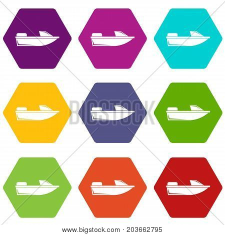 Sports powerboat icon set many color hexahedron isolated on white vector illustration