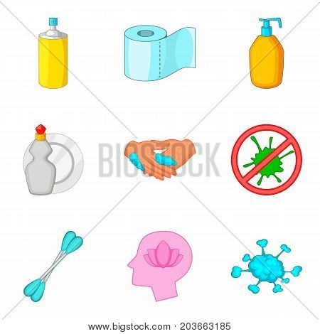 Personal hygiene icon set. Cartoon set of 9 personal hygiene vector icons for web design isolated on white background
