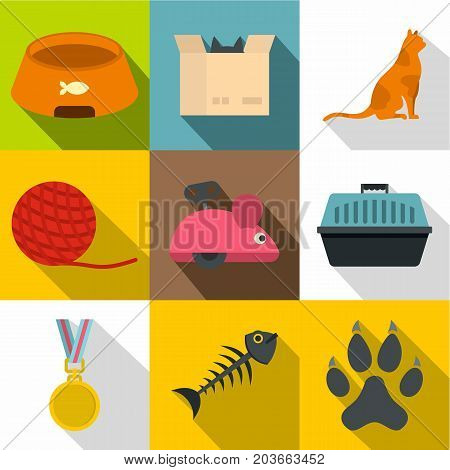 Cat toys icon set. Flat style set of 9 cat toys vector icons for web design