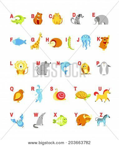 Alphabet cartoon animals with letters and pets for child ABC study. Vector isolated icons set design of alphabetical zoo animal form A to Z