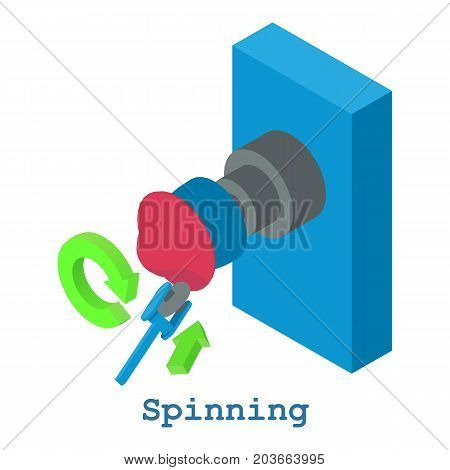Spinning metalwork icon. Isometric illustration of spinning metalwork vector icon for web