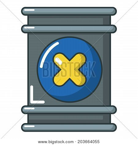 Toxic waste barrel container icon. Cartoon illustration of toxic waste container vector icon for web