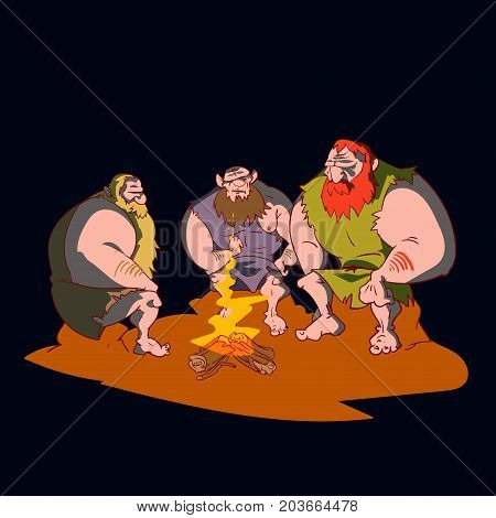 Colorful vector illustration of three cavemen sitting around a campfire at night.
